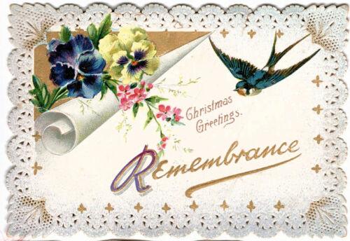 "c1910 ""Christmas Remembrance"" Raphael Tuck & Sons Emb.  Die Cut Greeting Card UK"