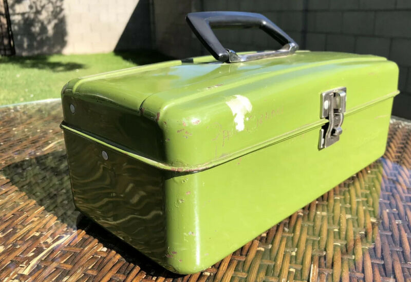 """🧰 🛠⚒Vintage Union Steel Corp. Tool Utility Tackle Box Green 13"""" x 6""""⚒🛠"""