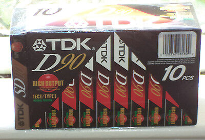 TDK Cassettes 10 piece D90  IEC I TYPE I, 1 extra SD 110 ICE II TYPE II, NEW