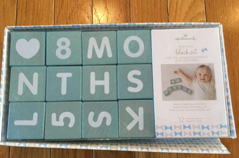 Hallmark Baby Boy Blue Wooden Block Set Big Announcements And Month Milestones