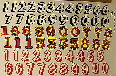GOFER RACING NUMBERS WATER SLIDE DECALS FOR 1/24 AND 1/25 SCALE MODEL CARS