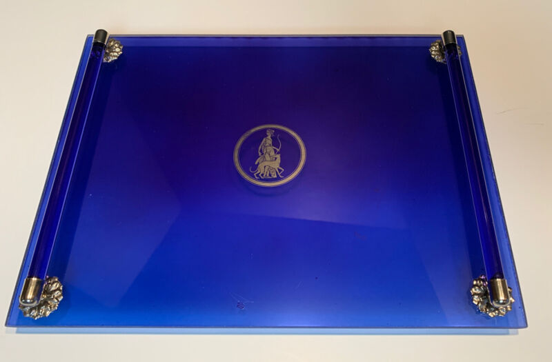 Vintage Art Deco Cobalt Blue Glass Vanity Dresser Tray, Perfume Display