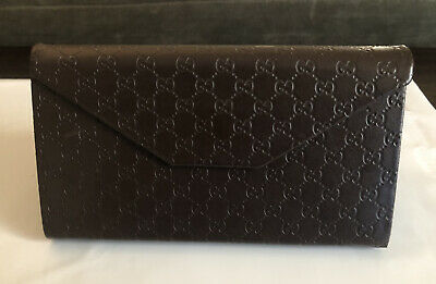 Gucci GUCCISSIMA Foldable Glasses Eyeglasses Case Trifold Sunglasses Dark Brown