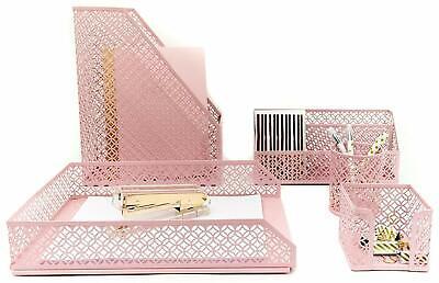 Blu Monaco Office Supplies Pink Desk Accessories For Women5piece Desk Organizer