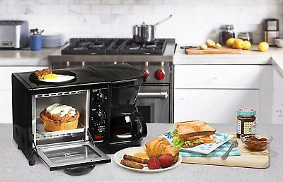Breakfast Station 3 In 1 Coffee Maker Toaster Oven Griddle Pan Small Free Ship