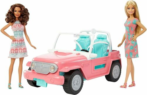 BARBIE JEEP Cruiser Convertible Car Playset with 2 BARBIE DOLLS FPR59 GIFT NEW