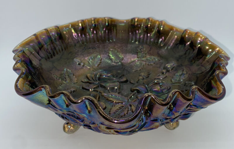 VTG Imperial Rose Luster 3 Footed Carnival Glass Bowl Iridescent Purple