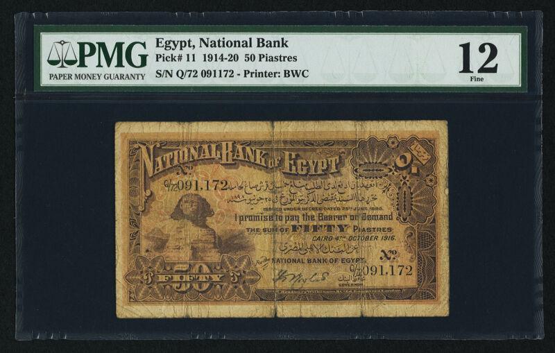 Egypt National Bank of Egypt 50 Piastres 4.10.1916 Pick 11 PMG 12 Fine