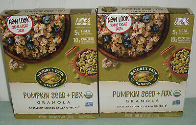 Natures Path Organic Pumpkin Seed + Flax Granola Cereal 2 Boxes 11.5 Oz Each New Natures Path Organic Granola
