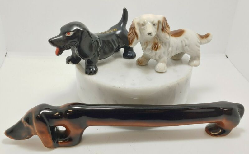 """Vintage Collectable Figurine  Dachshund - Wiener Dog Lot of 3 - 10.5"""" & 2 -4.5"""""""