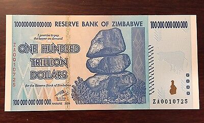 Replacement Zimbabwe 100 Trillion Dollars P91 ZA 2008 UNC Pick 91 Low Serial No.
