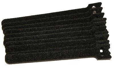 Black 10 Pack 6 6in Reusable Hook Loop Cable Tie For Guitar Mic Speaker Cable