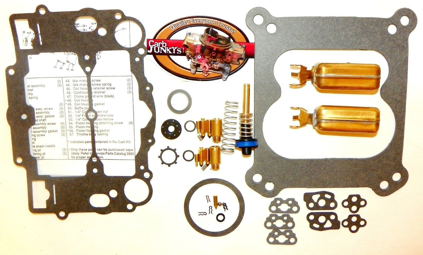 Weber Universal Carburetor Repair Kit Carter AFB Marine 9600 9700 Series Floats