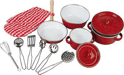 Kochgeschirr Set 13 Teile Rot Kinderküche Topf Pfanne ab 3 Jahre Neu