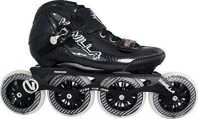 Carbon In Line Skates (Black Vanilla Carbon Inline Speed Skates - 3X100 , 4 X 100mm Wheels Size 1-13 )