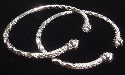 Pair Of Pointy Screw Head Handmade West Indian Sterling Silver Bangles