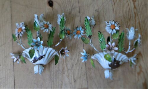 VINTAGE FLORENTIA  ITALY TOLEWARE CANDLE HOLDER SCONCE FLOWERS SHABBY CHIC