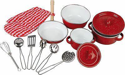 Kinder Kochgeschirr Kochset für Spielküche Kinderküche Töpfe Pfanne Rot 13 Teile