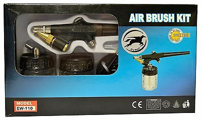Airbrush-kit (Airbrush Pistole EW-110 Kit mit 1,5 m Schlauch und 2 Glasbehälter)