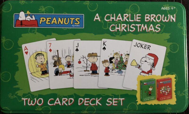 A Charlie Brown Christmas Two Deck Playing Card Set Tin Box Peanuts USAopoly
