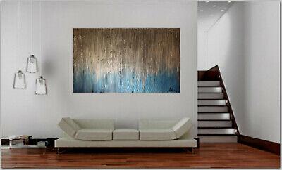 Gemälde Silber blau Modern Struktur Bilder *kein Druck* UNIKAT NEU Kunstgalerie