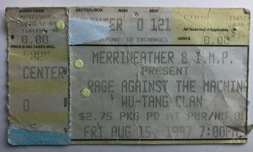 1997 Rage Against The Machine Ticket Stub 8/15/97 Merriweather Post Columbia, MD