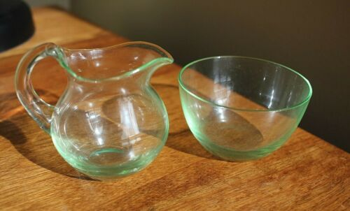 Vintage Small Clear green glass Cream and Sugar