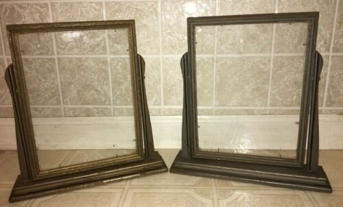 "(2) VINTAGE ART DECO WOOD TOGGLE PICTURE FRAMES 9.5x7"" Matching Pair!"