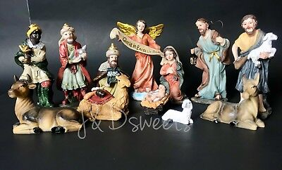 Christmas Nativity Set Scene Figures Polyresin Baby Jesus 13Piece Set Nacimiento - Child Nativity Set