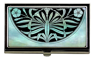 Teal ART DECO Business Card Case Credit Card Case Womens Accessories Office Gift