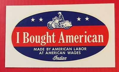 """I BOUGHT AMERICAN DECAL ~ """"INDIAN MOTORCYCLE"""" ~ 4"""" x 2"""" ~ SHIPS FREE!"""