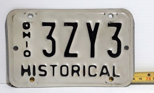 OHIO - 1980s vintage HISTORICAL / ANTIQUE Motorcycle license plate, nice type 2