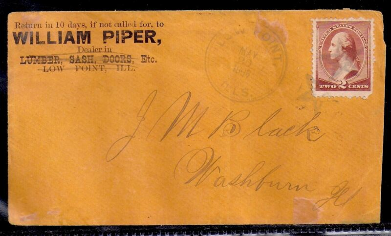 1886 Lumber Cover - Low Point, Illinois (DPO) - County/PM Cancel, RX Recipe