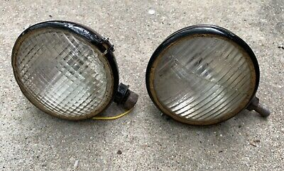 Two Older Tractor Headlights Head Lamps Ford Ihc Massey Allis Chalmers