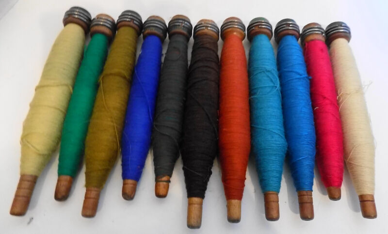 Set of Eleven Antique Bobbins Spools of Brightly Colored Wool Thread