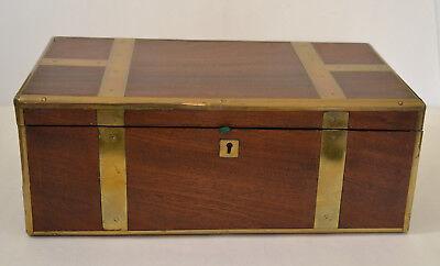 GEORGIAN MAHOGANY BOX DESK WITH BRASS CORNERS
