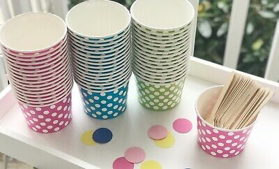 Pack of 25- 16oz Polka Dot Ice Cream Cups Bowls Container Pink Blue Green Party](Green Polka Dot Paper Plates)