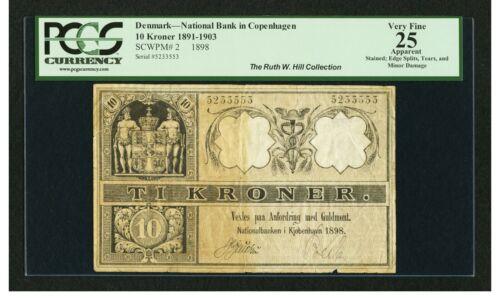 Denmark P-2 1898 1891-1903 10 Kroner VF 25 National Bank of Copenhagen