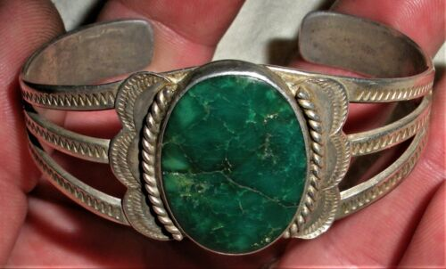 ANTIQUE c.1930 NAVAJO DEEP GREEN TURQUOISE STERLING SILVER CLASSIC BRACELET vafo
