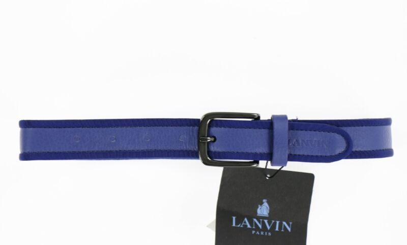Lanvin Kids 243821 Blue Leather Buckle Belt size 2