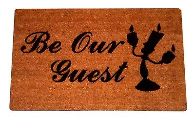 Disney Beauty and The Beast Laser Engraved Door Mat, 100% Natural Coir (100% Coir Fiber)
