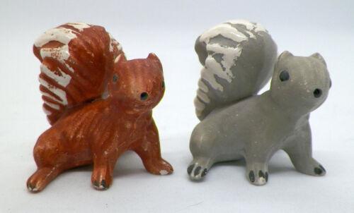 2 Hagen Renaker Mama Squirrel Miniature Figurines - Brown & Gray matte