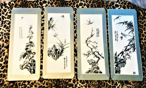 4 Vintage Spirited Japanese Silk Needle Point Art Matted Signed Butterfly Birds