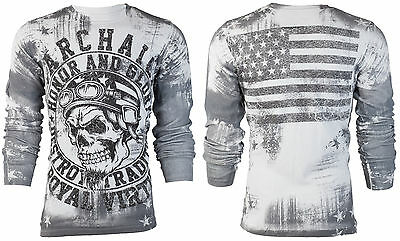 Flag Thermal Shirt - Archaic AFFLICTION Men THERMAL Shirt RACER American Customs USA FLAG Biker $58 b