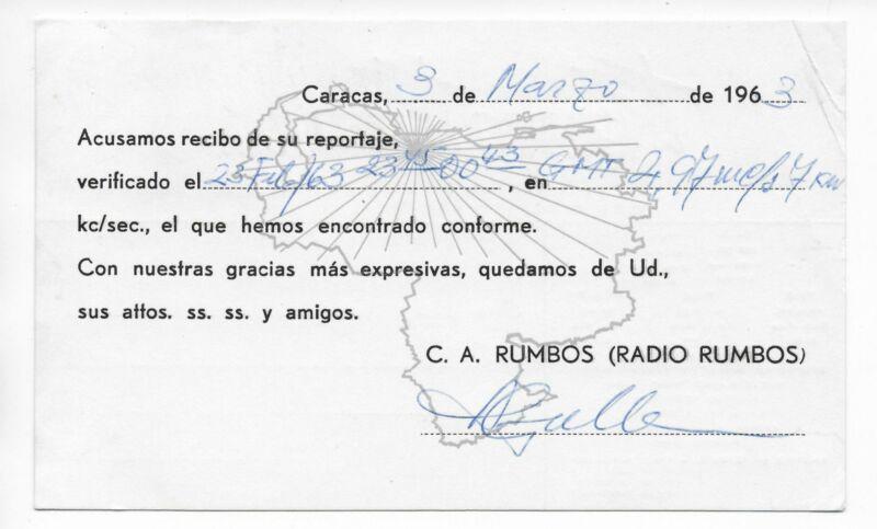 QSL Radio Rumbos Caracas Venezuela 1963 South America YVLK 4970 kcs Stamps DX
