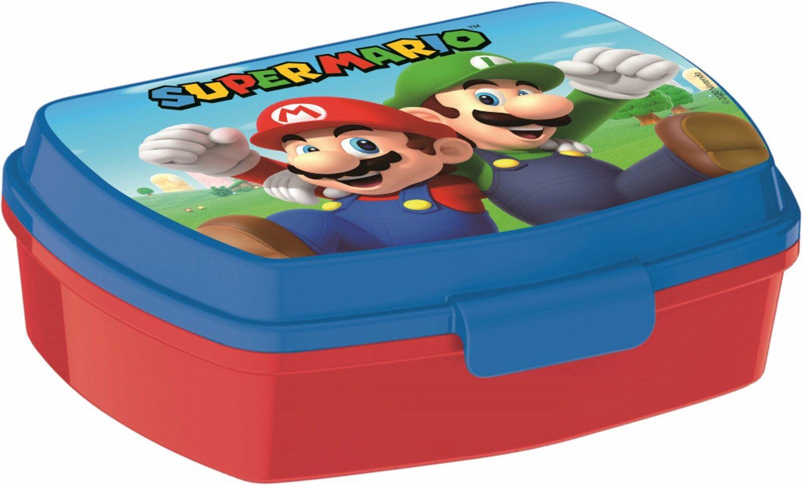 Super Mario Kinder Brotdose Lunchbox Sandwichbox rot-blau