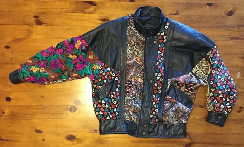 Vintage 80s 90s Pelle Wild Leather Quilted Bomber Satin Like Jacket Unisex Mens