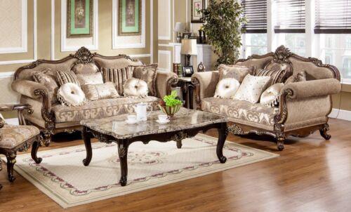 3pc Antique Sofa Set Luxury Formal Living Room Hazelnut w/Cherry Chenille Fabric