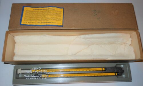 """Taylor Instrument Co 1327 9"""" Sling Psychrometer Etched Stem Thermometer In Box"""