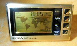 RARE SEIKO Quartz World Time Map Digital 3 1/2 Desk Bronze Pocket Clock JAPAN